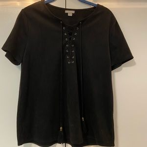 Falls Creek Black Tie Up Faux Leather Top